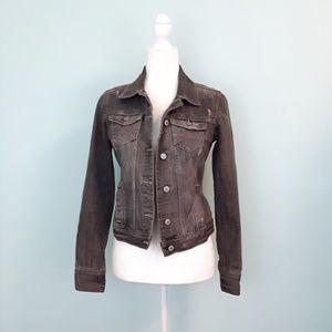 Black & Gray Distressed Denim Jean Cotton Jacket